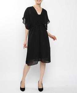Vネックフレンチドレス МIC1401ー14(ブラック)