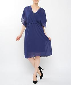 Vネックフレンチドレス МIC1401ー14(ブルー)
