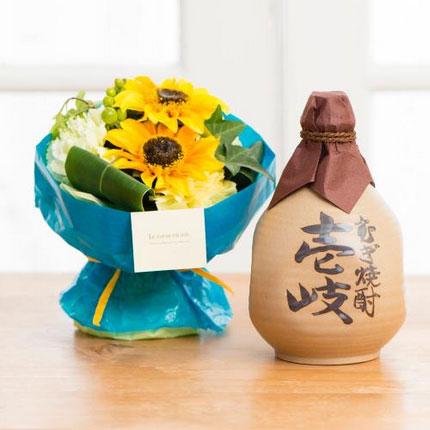 本格麦焼酎 壱岐 徳利&そのまま飾れる父の日ブーケ