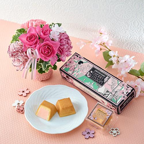 資生堂パーラー 春限定 「春のチーズケーキ(さくら味)」とアレンジメントのセット