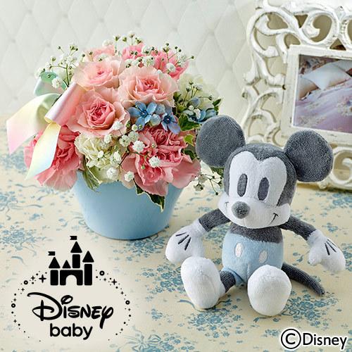 ディズニー「ミッキーマウス 音入りぬいぐるみとアレンジメントのセット」 イメージ